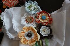 fabric flowers, cute embellishments