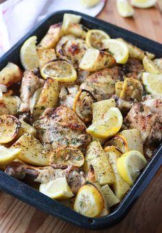 Lemon Herb Roasted Chicken and Potatoes - juiciest chicken ever! Super easy one pot weeknight dinner | littlebroken.com @littlebroken