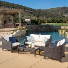 Christopher Knight Home Outdoor Antibes 4-piece Wicker Chat Set with Cushions Sale: $743.99