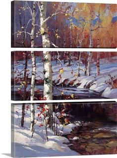"""Snuggle up on your couch with this peaceful winter scene above your fireplace. """"Snowy Birch"""" canvas print in three panels is available at GreatBIGCanvas.com"""
