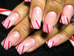 Candy Cane Peppermint Nails Nail Design Beauty Nail Design For Women Simple Nail Designs For #nails, #fashion, https://facebook.com/apps/application.php?id=106186096099420