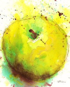 Green Apple - Watercolour and Ink on Paper