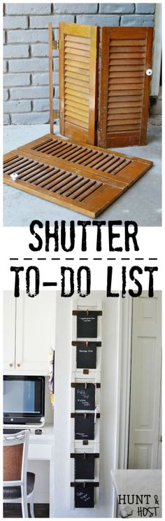 shutter to do list before and after: Transform old shutters into a to do board for the perfect back to school organizing