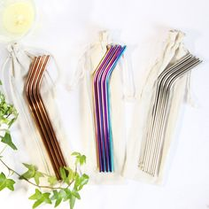 Eco straw, metal ecological straws for your favorite cold or hot drink. Easy to use. And it looks so cool.