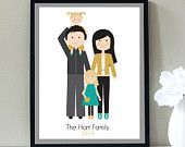Family Portrait, Custom Portrait Family of Four, Fun Pose, Gold and Black, Fathers Day