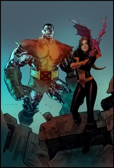 "comicsforever: "" X-Men: Power Couples // artwork by Marcio Takara Featuring Colossus with Kitty Pryde and Rogue with Gambit. Comic Book Artists, Comic Book Characters, Marvel Characters, Comic Books Art, Comic Art, Marvel Comics, Hq Marvel, Marvel Heroes, Cosmic Comics"