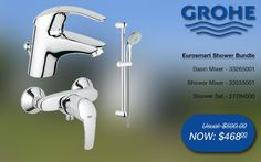 Grohe eurosmart shower bundle basin & shower mixer, shower rail set @ SGD$468 (33265001, 33555001, 27794000) #grohe #bathroom #shower #taps #promotions #singapore Shower Mixer Taps, Bath Mixer, Shower Rail, Shower Set, Bathroom Gallery, Basin, Bath Taps, Bathroom Bath, Singapore