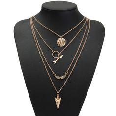 Sale 22% (2.99$) - Angel Wings Arrow Scales Pendant Chain Metal Necklace