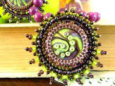 Green Purple OOAK Pendant