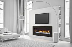 Warm up to our most luxurious fireplace yet. Heat & Glo PRIMO Series Gas Fireplace, where intricate modern styling meets innovative heating technology. Interior, Home Fireplace, Living Room With Fireplace, Fireplace Design, Contemporary Decor, Home Decor, Contemporary House, Contemporary Bedroom, Modern Fireplace