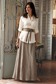 La Parisienne Skirt - Long Stretch Cotton Skirt, Skirts, Clothing | Soft Surroundings