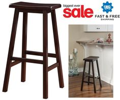 Kitchen Bar Wood Stool Pub Furniture Swivel Seat Set Saddle Chair Counter Height #Linon