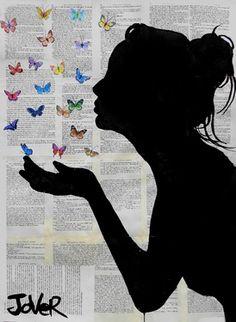 "Saatchi Online Artist Loui Jover; Drawing, ""butterfly kisses"" #art"