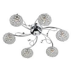 Bedroom Ceiling and Pendant Lights - The Eden from Dar is a 4 Light Semi Flush Ceiling Fitting in Polished Chrome with a crystal tipped detail and sparkling shades formed from