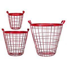 3-Piece Camden Basket Set in Red