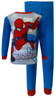 Marvel Comics Spiderman Cotton Toddler Pajamas the Amazing Spider-man is in the house! These 100% cotton pajamas for toddler bo...
