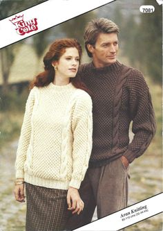 "ORIGINAL King Cole 7081 His/Hers Aran Jumper/Sweater 32-44"" Knitting Pattern in Crafts, Knitting, Patterns 