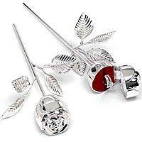 Silver plated long stem rose ring holder with red velvet interior
