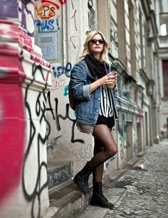 Berlin 2013 Street Style | ELLE UK. May 22, 2014. I still see the stripes here and also dark or colored nylons with shorts.