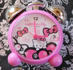 Hello Kitty Alarm Clock, Pink and Silver W/ Hello Kitty Background, Great Shape | eBay