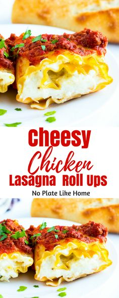 Cheesy Chicken Lasagna Roll Ups are the perfect easy dinner when you don't feel like making a whole lasagna casserole but, want the lasagna taste. The addition of protein (shredded chicken) to this recipe makes it even better. Great recipe to use up leftover chicken.  Add this to your dinner rotation. It's a yummy weeknight meal! Pin for later.