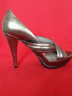 Kenneth Cole NY Leather Pewter Solid Open Toe Comfort High Heels Size 8 (B,M)   #KennethCole #OpenToe