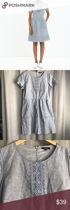Madewell • Fortune Linen Dress Vintage-inspired embroidery. A cool, textured linen-cotton blend. A flattering but unfussy shape that looks especially cool with ankle boots.  * Waisted. * Linen/cotton. * Pockets. * Machine wash. * Import. * Retail $148 Madewell Dresses