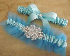 Tiffany Blue Wedding Garter Tulle and Satin Bridal by Weddingzilla, $40.00