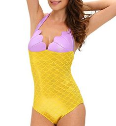 I absolutely love sexy mermaid Halloween costumes and  especially since this is one of the best women's Halloween costume ideas I have  seen. As you can dress beautiful and  sexy by simply finding one or two sexy mermaid Halloween costumes for women.  #mermaid #halloween2017      Dreamsoar Womens One Piece High Waist Halter Plus Size Mermaid Fish Scale Bodysuit Swimwear cosplay