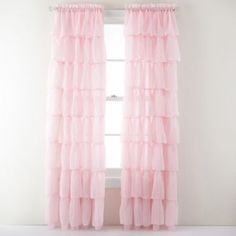 These are light pink ruffle curtains. I prefer the light pink myself. Tell me your ideas on the perfect house!