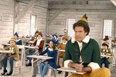Elf (2003)  Will Ferrell plays Buddy the Elf, the biggest, most-cheer filled member of Santa's team. When Buddy learns who is real dad is, he heads to NYC determined to reconnect, but things don't go as smoothly as he plans. From outing the store-Santa as a liar to pouring syrup on his spaghetti (elves try to stick to the four main food groups: candy, candy canes, candy corns and syrup), Elf is an all-around funny, feel-good Christmas movie