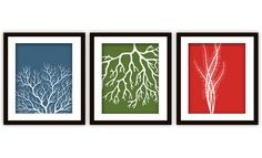 Modern Abstract Tri-Colored Coral Print Set (ANY colours), $20