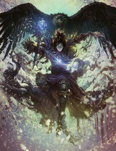 magician / mage / magic warrior / RPG / digital art / giant crow / bird / fantasy