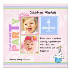 Baby Two Photo Birthday Invitation! Make your own invites more personal to celebrate the arrival of a new baby. Just add your photos and words to this great design.