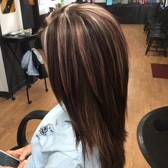 Multi dimensional color  Beige and light violet highlights with deep violet lowlights on a Brown bar by Niky Vanhatten