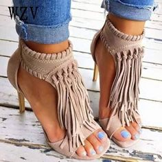Shop Trendy Tassel Stiletto High Heels Sandals on sale at Tidestore with trendy design and good price. Come and find more fashion High Heel Sandals here. Crazy Shoes, Me Too Shoes, Mode Shoes, Mode Style, Beautiful Shoes, Gorgeous Heels, Nice Heels, Boutiques, Stiletto Heels
