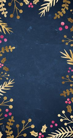 Navy midnight blue gold pink border frame foliage botanical holly iphone wallpaper phone background lock screen