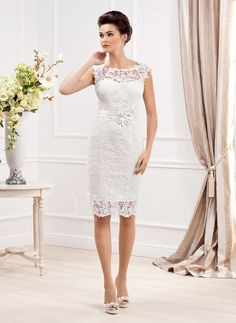 Wedding Dresses - $139.22 - Sheath/Column Scoop Neck Knee-Length Lace Wedding Dress With Beading (0025058501)
