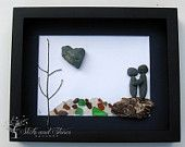 Unique Engagement Gift- Pebble Art Couple Design with Water Feature - Personalized Couple's Gift -  Pebble Art - COUPLE'S GIFT - Love Gifts