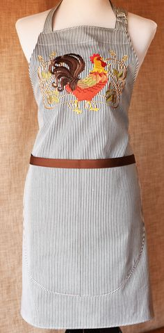 Chef's Apron Embroidered with Large Art Nouveau Rooster, Washable, Generous Straps, Large Divided Pocket by NestingInstinctShop on Etsy