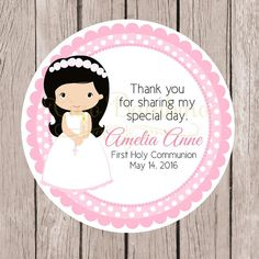 Girls First Holy Communion Favor Tags or Stickers by ciaobambino Communion Favors, Floral Letters, First Holy Communion, Favor Tags, Special Day, Holi, Clip Art, Invitations, Etsy