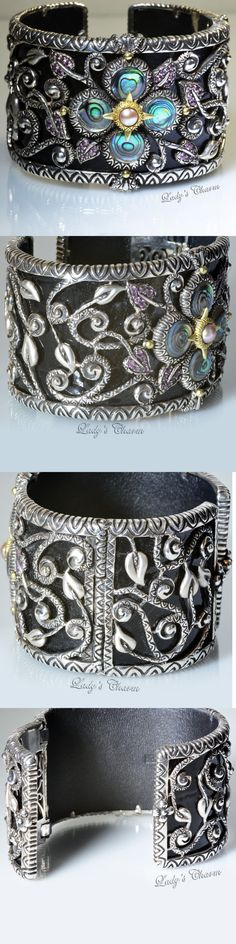 Gemstone 164315: Barbara Bixby Multi-Gemstone Black Leather Cuff Bracelet Sterling 18K Small -> BUY IT NOW ONLY: $899.99 on eBay!