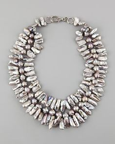 Y169M Nest Multi-Strand Pave Pearl Necklace