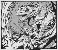 Tropical jungles are places of mystery where you never know what you will discover. But there will be dinosaurs every single time. (Jim Holloway from Dragon magazine No. Dream Fantasy, Fantasy World, Fantasy Drawings, Fantasy Artwork, Classic Rpg, Dragon Artwork, Funky Art, Sci Fi Art, Fantasy Creatures