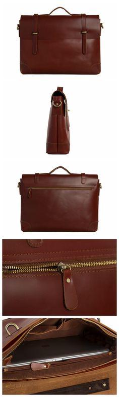 Crazy Horse Leather Laptop Bag, Briefcase, Messenger Bag Men Business Bag