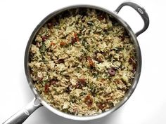 Greek Turkey and Rice Skillet - One Pot Meal - Budget Bytes Vegetarian Recipes, Healthy Recipes, Healthy Dinners, Greek Turkey, Frozen Spinach, Ground Turkey Recipes, One Pot Meals, Skillet, Food To Make