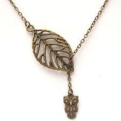 Antiqued Brass Leaf Owl Necklace by gemandmetal on Etsy, $9.99