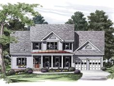 Country House Plan with 2306 Square Feet and 4 Bedrooms from Dream Home Source | House Plan Code DHSW32105