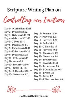 Bible Verse on Controlling Emotions ~ Coffee With Starla - Quotes Bible Study Notebook, Bible Study Plans, Bible Plan, Bible Study Tips, Bible Study Journal, Scripture Study, Bible Study On Prayer, Daily Bible Reading Plan, Prayer Scriptures