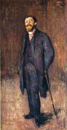 Portrait of the Painter Jensen Hjell (1885) by Edvard Munch (wikiart)